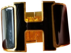 Hermès Hermes Clic Clac Extra Large black and gold enamel cuff
