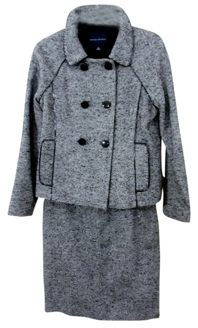 Item - Black/White Wool Tweed Double Breasted Skirt Suit Size 8 (M)