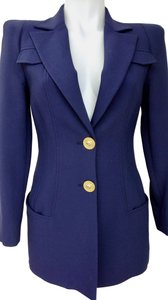 Versace Dark Blue Versace Blazer Suit with Gold buttons