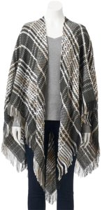 LC Lauren Conrad Plaid Fringe Cape