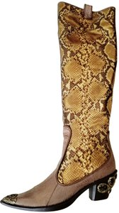 Vero Cuoio Western Leather Embellished Embossed Snakeskin Taupe and Gold and Black Boots