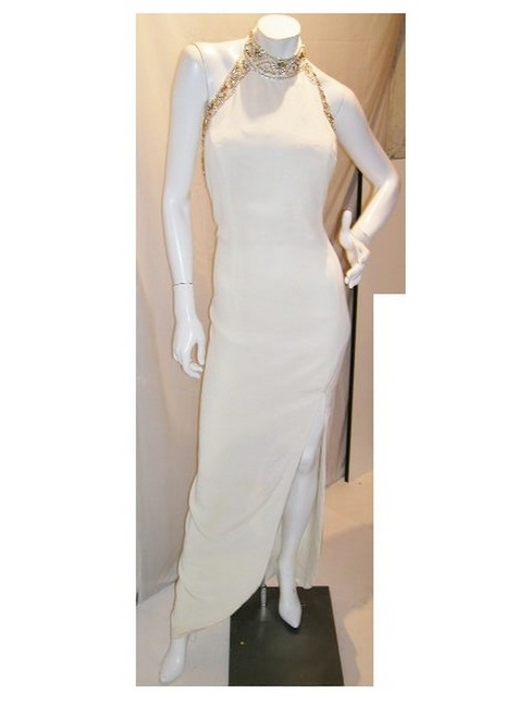 Item - Eggplant/Brown W Embellished High Collar Halter W/Front Split Long Night Out Dress Size 16 (XL, Plus 0x)