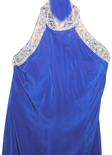 Item - Egyptian Blue/Silver W Embellished High Collar Halter W/Front Split Long Night Out Dress Size 18 (XL, Plus 0x)