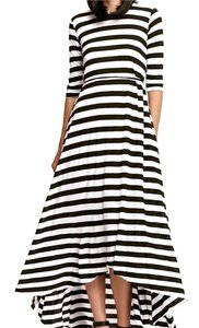 Black and White Stripes Maxi Dress by Mark and Estel Maxi Sundress