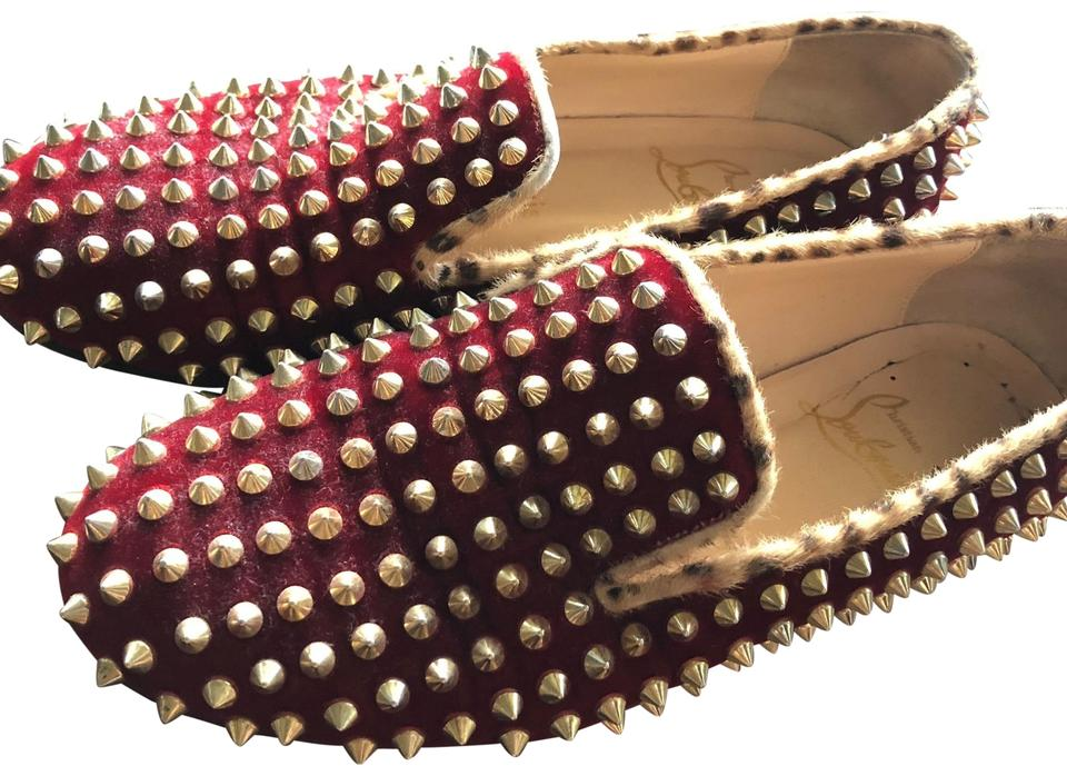 35e79aa778b6 Christian Louboutin Velvet Red Limited Edition Dark with Gold Spike Flats