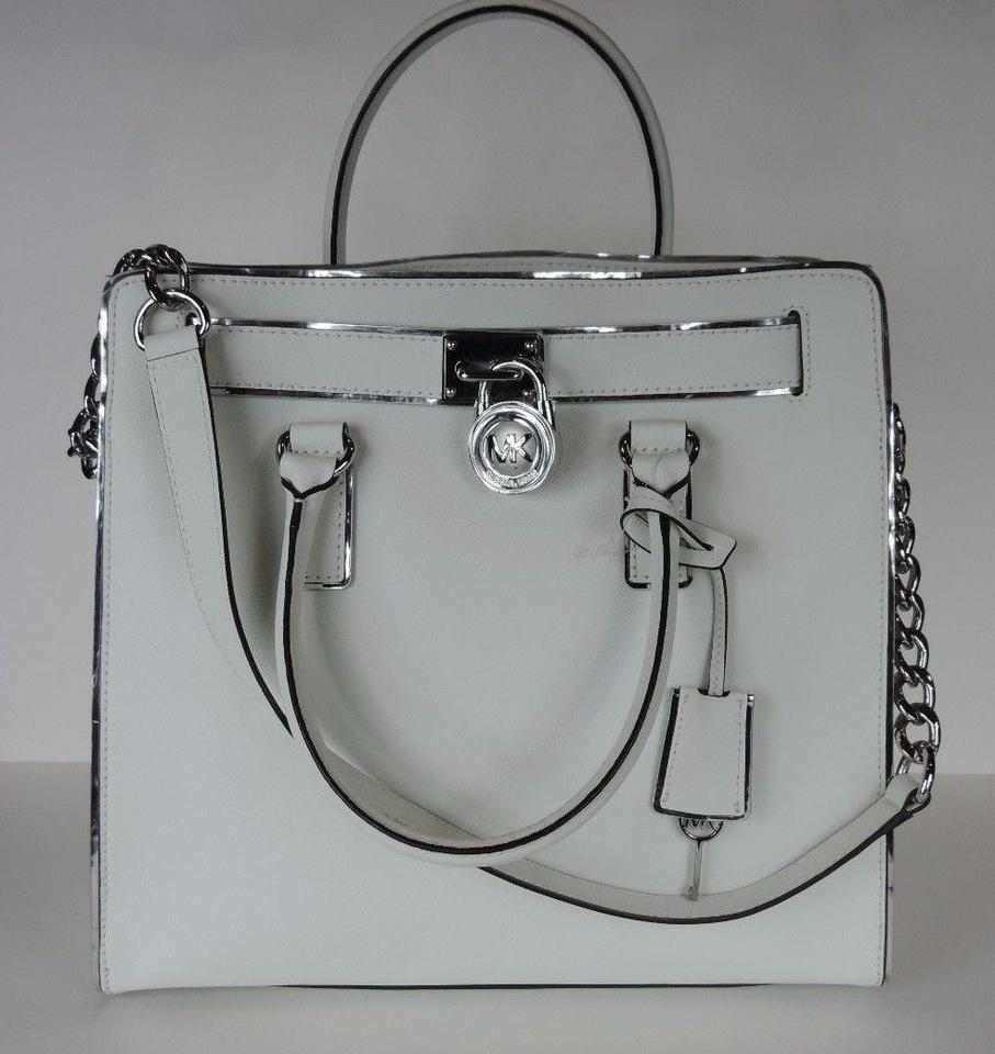 388c3078dcca Michael Kors Spechio Satchel Shoulder North South Tote in Optic White  Silver Image 9. 12345678910
