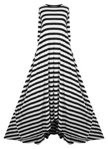 Black and White Stripes Maxi Dress by Mark and Estel Maxi