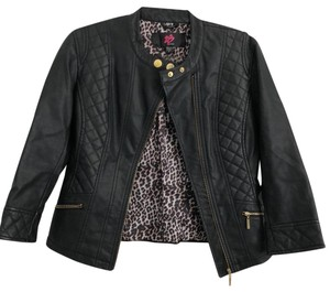 2b bebe black/cheetah print inside Leather Jacket