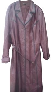 Newport News Prettty Plum with Black Trim Accent Long Leather Coat
