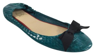 Christian Louboutin Blue Aqua Watersnake Air Teal Flats