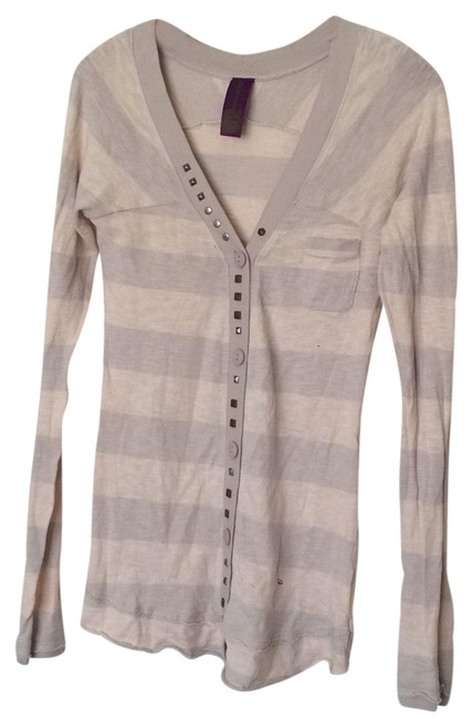 Item - Gray Cream Striped Studded Button-down Top Size 8 (M)