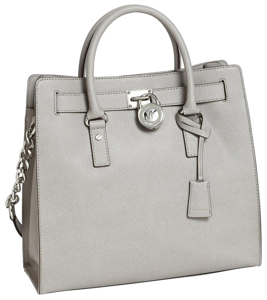 61c179163308 Michael Kors Convertible North South Shoulder Satchel Light Tote in Pearl  Grey Silver Image 0 ...