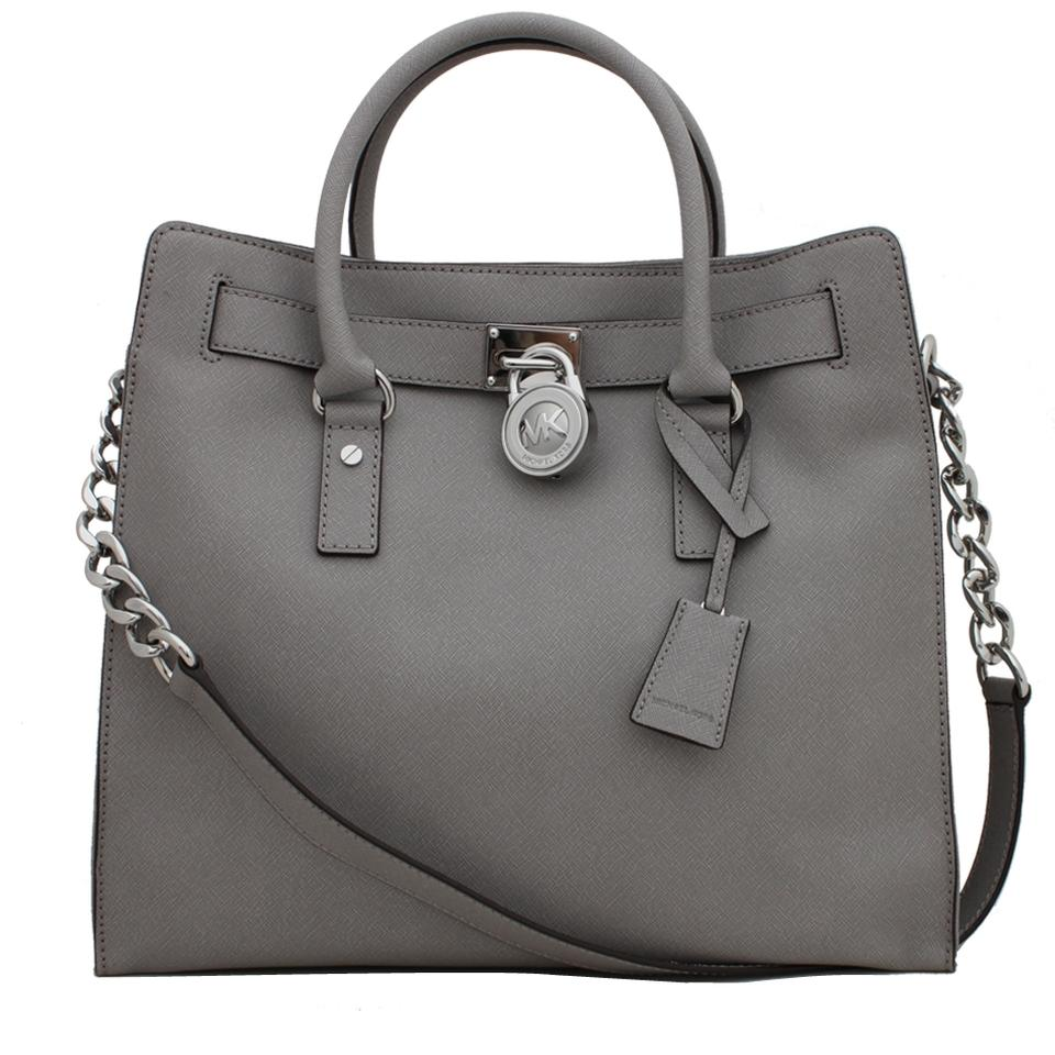 8f6e3d7fc7cb Michael Kors Convertible North South Shoulder Satchel Light Tote in Pearl  Grey Silver Image 5. 123456
