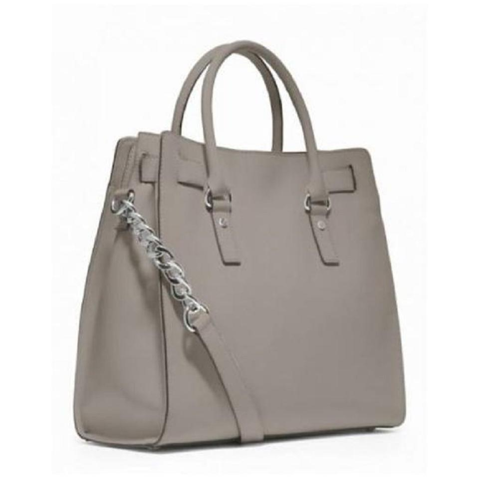 c0e93ea9ae33 Michael Kors Convertible North South Shoulder Satchel Light Tote in Pearl  Grey Silver Image 5. 123456
