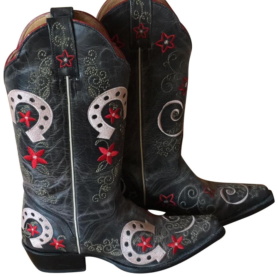 Corral Boots Gray Red Cowboy Green Texas Cowboy Red Boots/Booties b14609