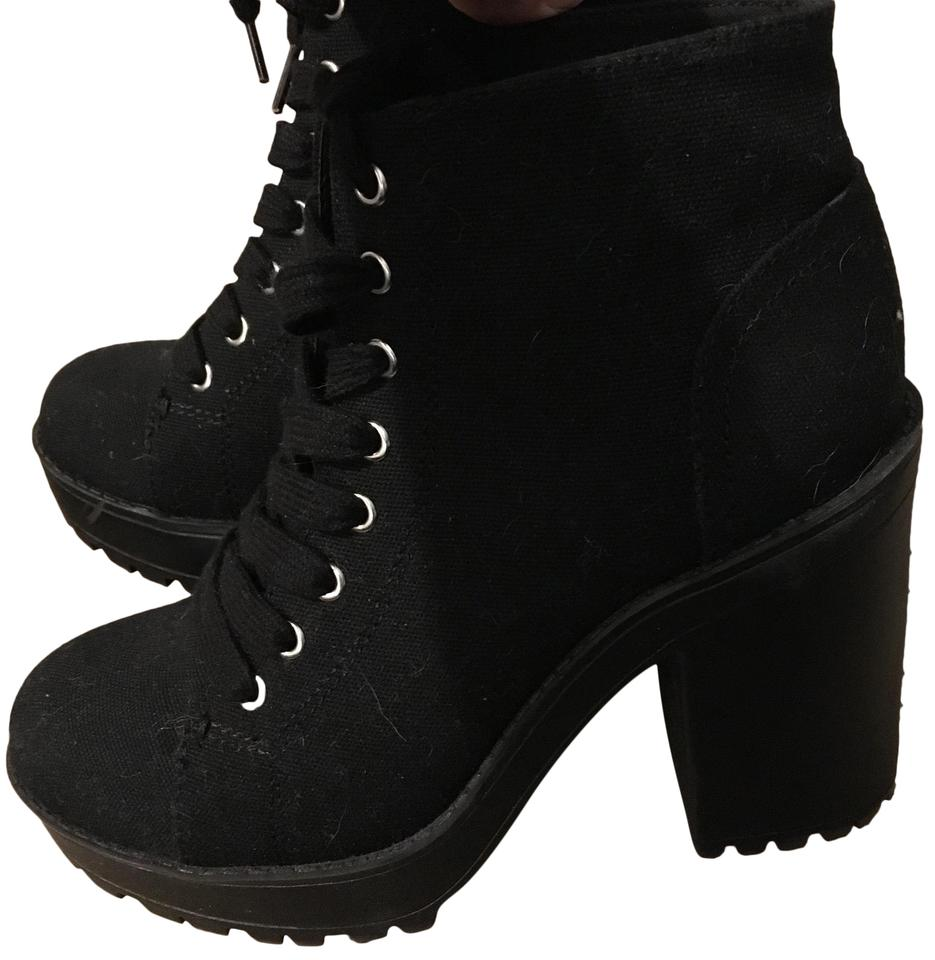 fd54c631588 Divided by H M Black Canvas Platform Boots Booties Size US 7 Regular ...