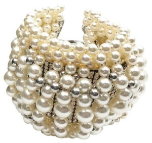 Chanel Silver Gold Runway Chunky Faux Pearl Crystal Leather Bracelet
