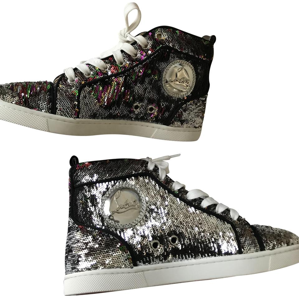 2524217253eb Christian Louboutin Hi Top Sneakers Trainers Sequin Silver Multi Athletic  Image 0 ...
