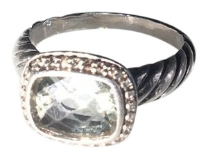 David Yurman Prasolite and diamond sterling silver ring