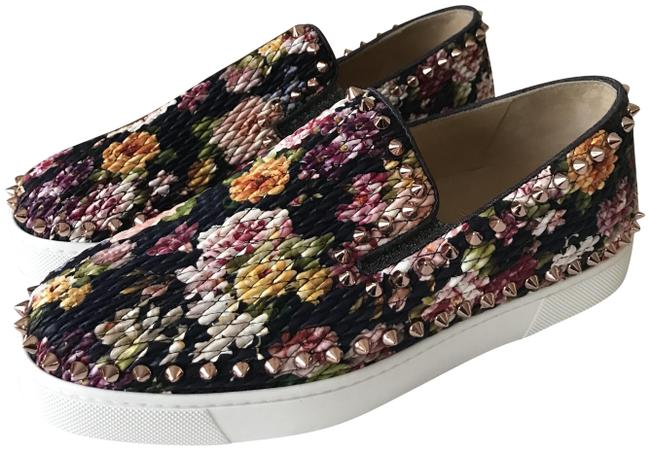 Item - Multicolor Pik Boat Quilted Floral Tissu Spike Studded Sneaker Flats Size EU 37.5 (Approx. US 7.5) Regular (M, B)