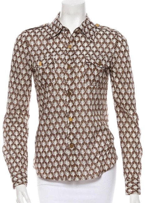 Item - Brown & Cream Button-down Top Size 2 (XS)