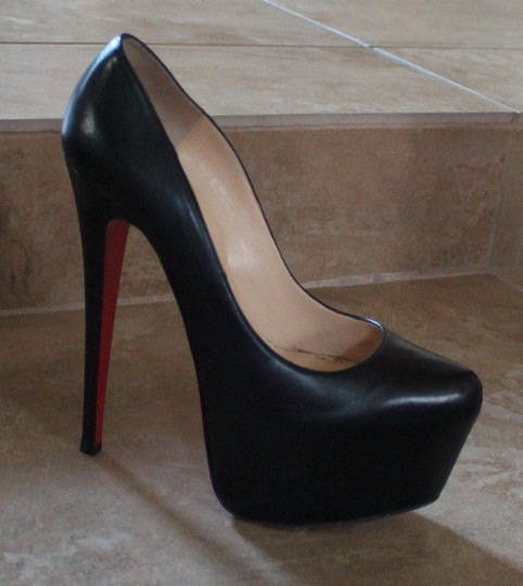 Christian Louboutin Leather Daffodile Stiletto Platform Hidden Platform Black Pumps