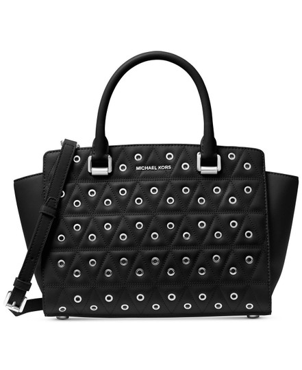Preload https://img-static.tradesy.com/item/22918785/michael-kors-selma-grommeted-grommet-quilted-black-silver-leather-satchel-0-0-540-540.jpg