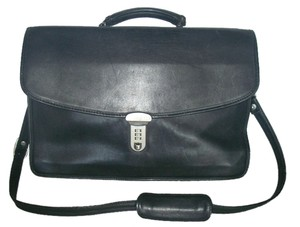 Atlas Sterling Burke Leather Usa Messenger Strap Satchel in Black