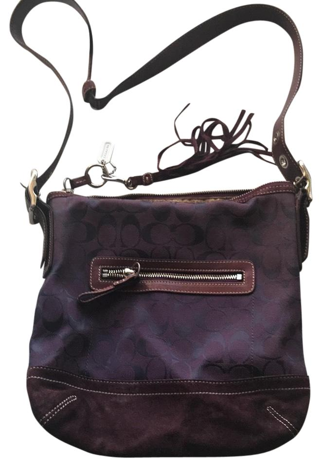 Coach Rare Signature Logo Canvas Suede Leather Convertible 9362 Wine Canvas  Cross Body Bag a8969397dafe4