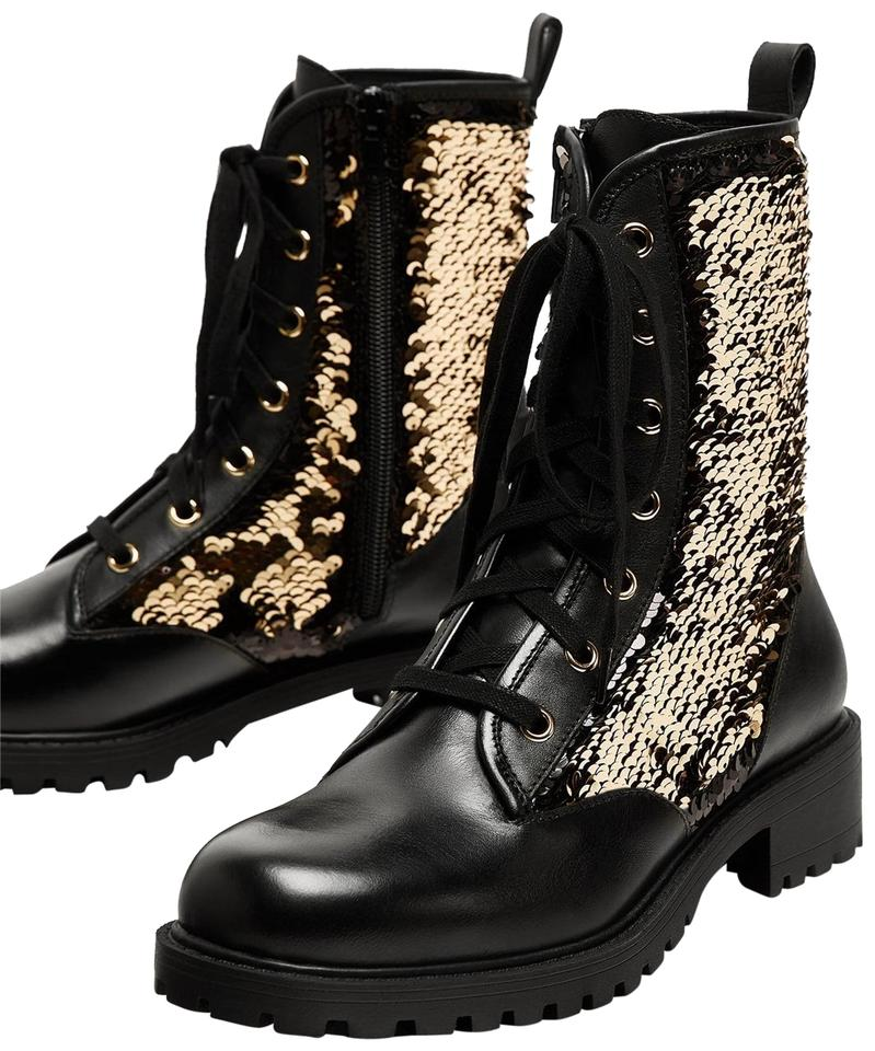 d9b68c6240c94 Zara Black Sequin Leather Lace Up Combat Ankle Boots Booties Size US ...