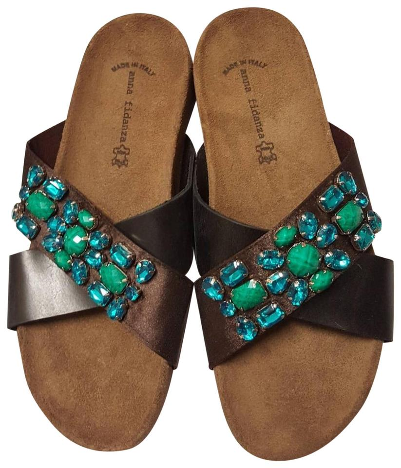 1f16f73f0 ANNA Footwear Turquoise Black New Jeweled Slides Sandals Size EU 40 ...