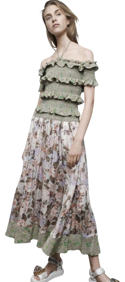 Rebecca Taylor Green Pink Off-the-shoulder Smock Mixed Long Casual ...