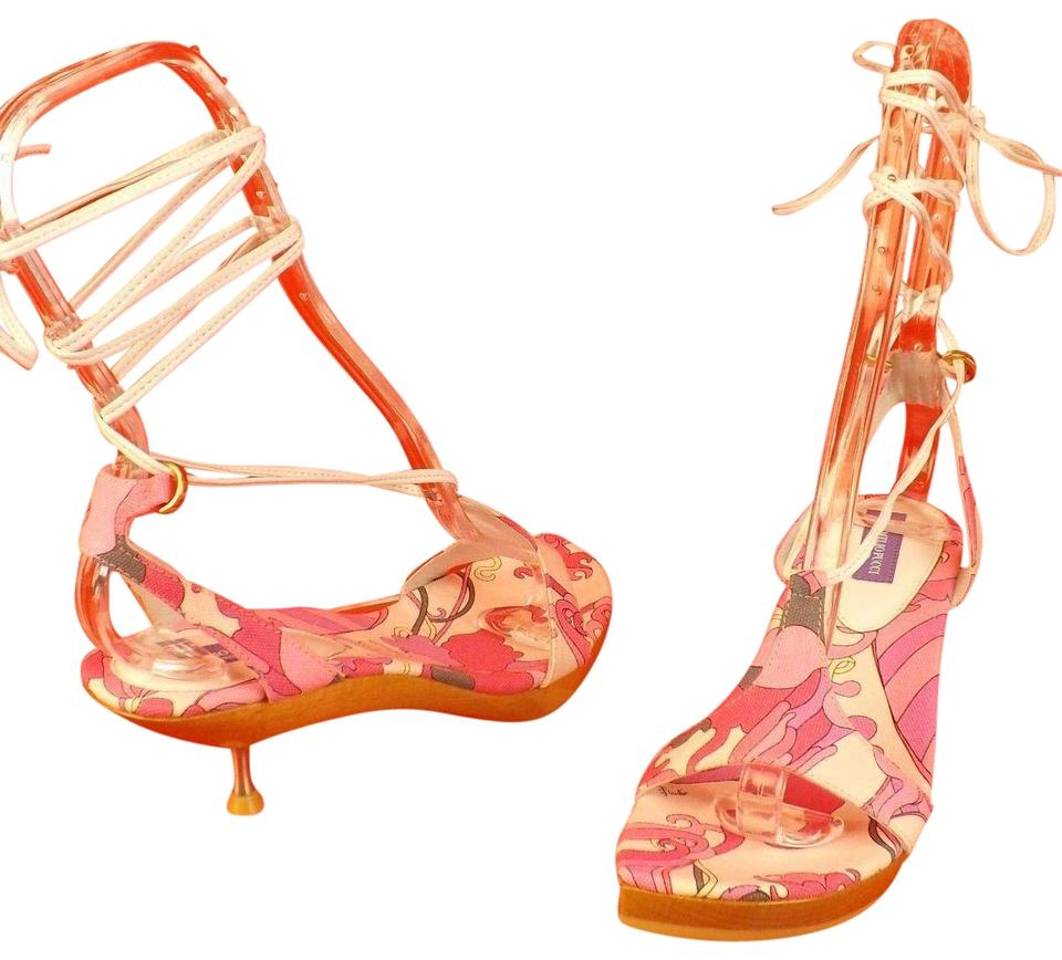 9c5fb675237 Emilio Pucci Pink Leather White Canvas Ankle Wrap Wood Metl Kitten ...