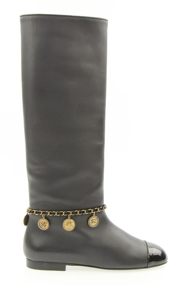 7cbb9109cb1 Chanel Black Médallion Charms Knee High Boots Booties. Size  EU 37 (Approx.