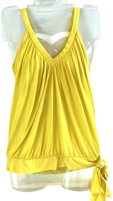 Item - Yellow V Neck Draped with Tie Tank Top/Cami Size 4 (S)