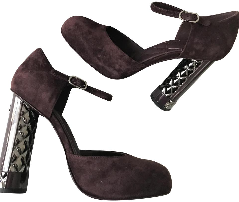 90767224c9515 Chanel Dark Purple 17k Suede Patent Quilted Sculpted Heels Mary Jane Pumps  Size EU 38 (Approx. US 8) Regular (M, B) 47% off retail