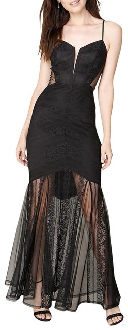 Preload https://img-static.tradesy.com/item/22919321/bebe-black-andie-striped-lace-gown-long-cocktail-dress-size-4-s-0-5-650-650.jpg
