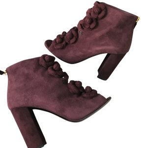 Chanel Camellia Flower Open Toe Burgundy Boots