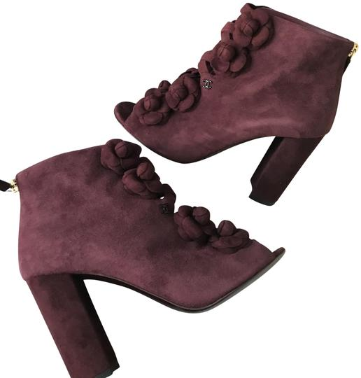 Preload https://img-static.tradesy.com/item/22919336/chanel-burgundy-17a-suede-camellia-flower-open-toe-ankle-heels-bootsbooties-size-eu-37-approx-us-7-r-0-1-540-540.jpg