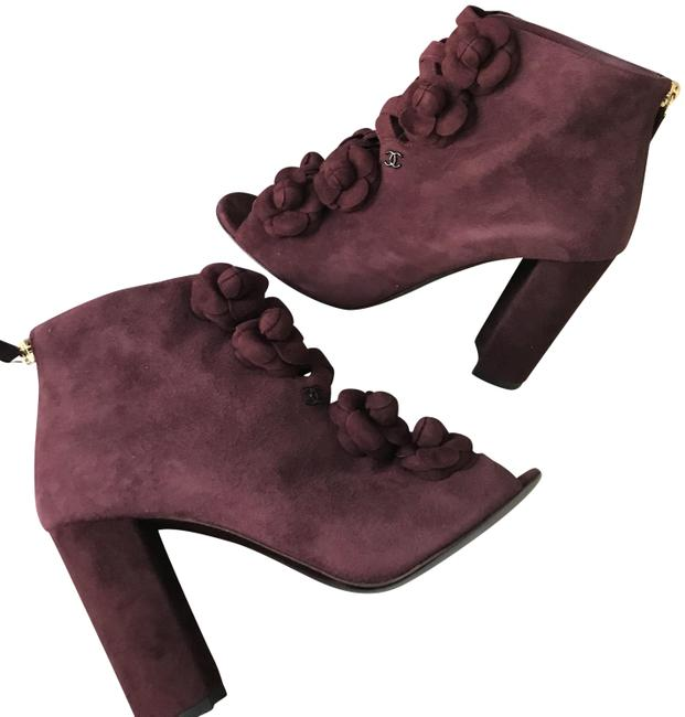 Item - Burgundy 17a Suede Camellia Flower Open Toe Ankle Heels Boots/Booties Size EU 37 (Approx. US 7) Regular (M, B)