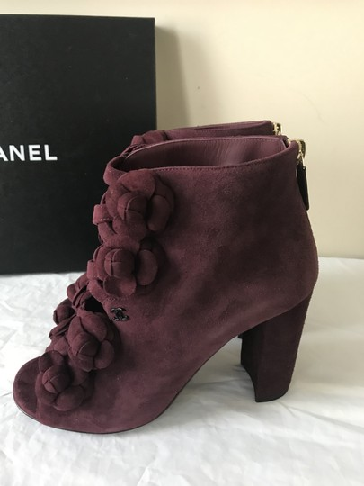 Chanel Camellia Flower Open Toe Burgundy Boots Image 1