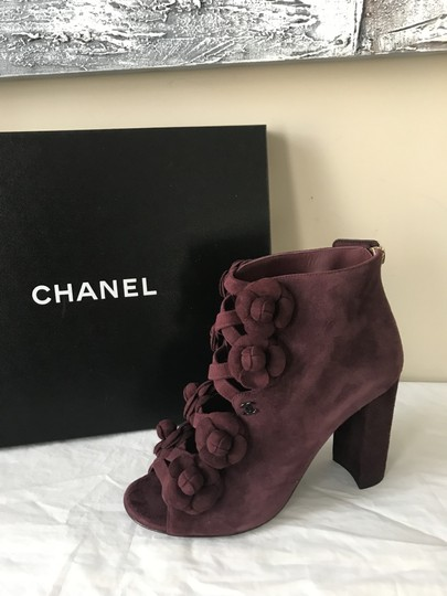 Chanel Camellia Flower Open Toe Burgundy Boots Image 11