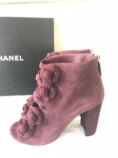 Chanel Camellia Flower Open Toe Burgundy Boots Image 2