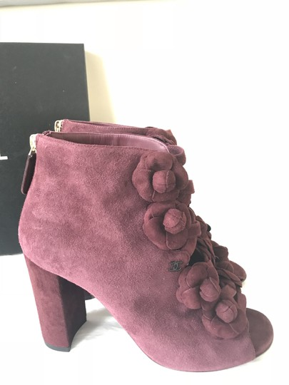Chanel Camellia Flower Open Toe Burgundy Boots Image 3