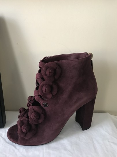 Chanel Camellia Flower Open Toe Burgundy Boots Image 5