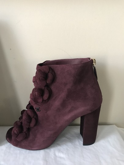 Chanel Camellia Flower Open Toe Burgundy Boots Image 6