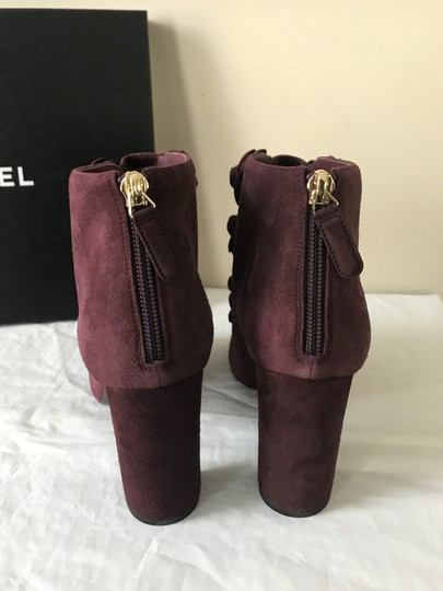 Chanel Camellia Flower Open Toe Burgundy Boots Image 7
