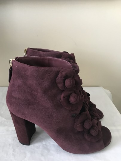 Chanel Camellia Flower Open Toe Burgundy Boots Image 9