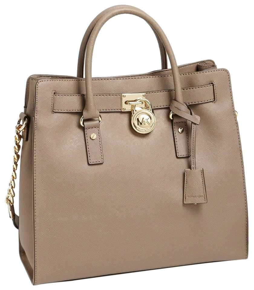 Michael Kors Taupe Khaki Mushroom Satchel Shoulder Tote In Dark Dune