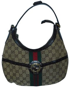 Gucci Mint Vintage Britt Reins Blondie Khaki/Red/Green Equestrian Large Size Hobo Bag